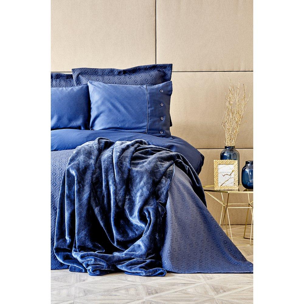 Набор постельное белье с покрывалом + плед Karaca Home - Infinity lacivert 2020-1 синий евро (10)