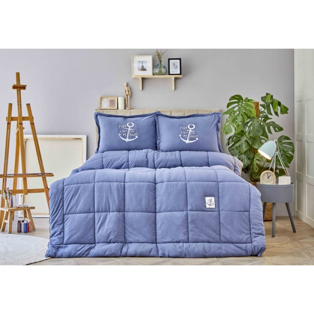 Набор постельное белье с одеялом Karaca Home - Toffee indigo индиго полуторный