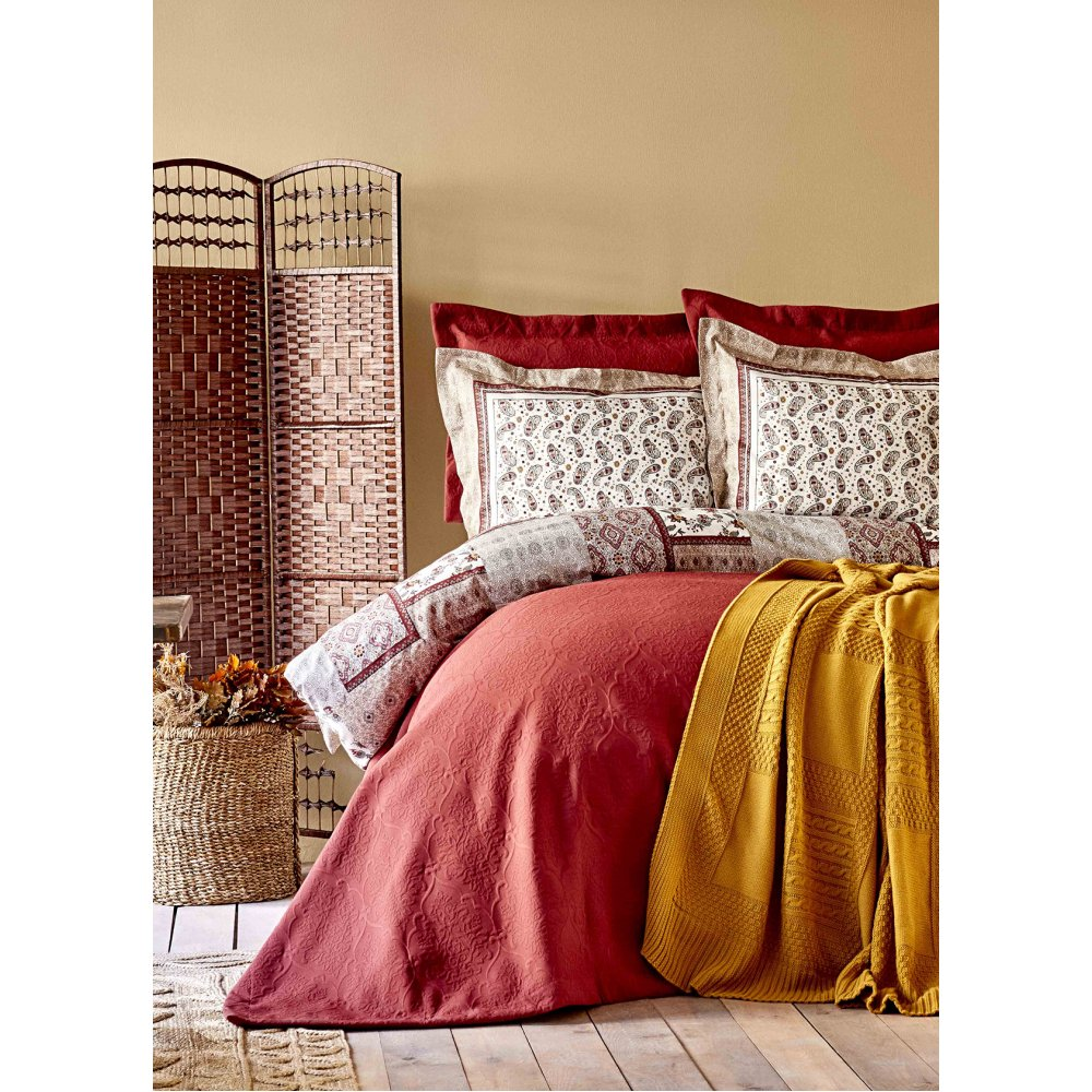 Набор постельное белье с покрывалом + плед Karaca Home - Maryam bordo 2020-1 бордовый евро