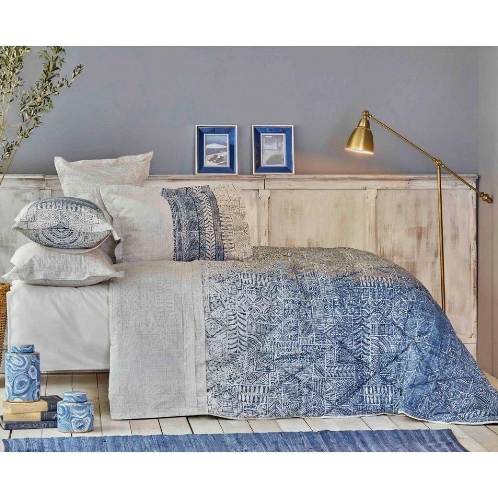 Набор постельное белье с одеялом Karaca Home - Marea mavi голубой евро
