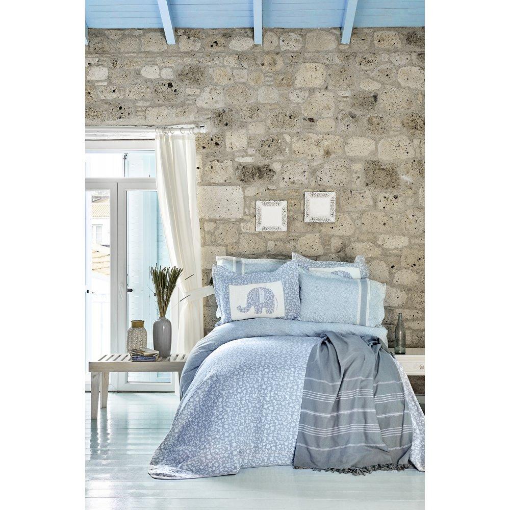Набор постельное белье с покрывалом + пике Karaca Home - Zilonis mavi голубой евро