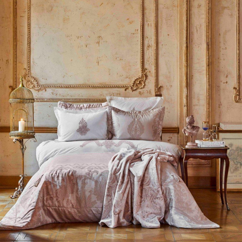 Набор постельное белье с покрывалом + плед Karaca Home - Adrila rosegold золотисто-розовый евро (10)