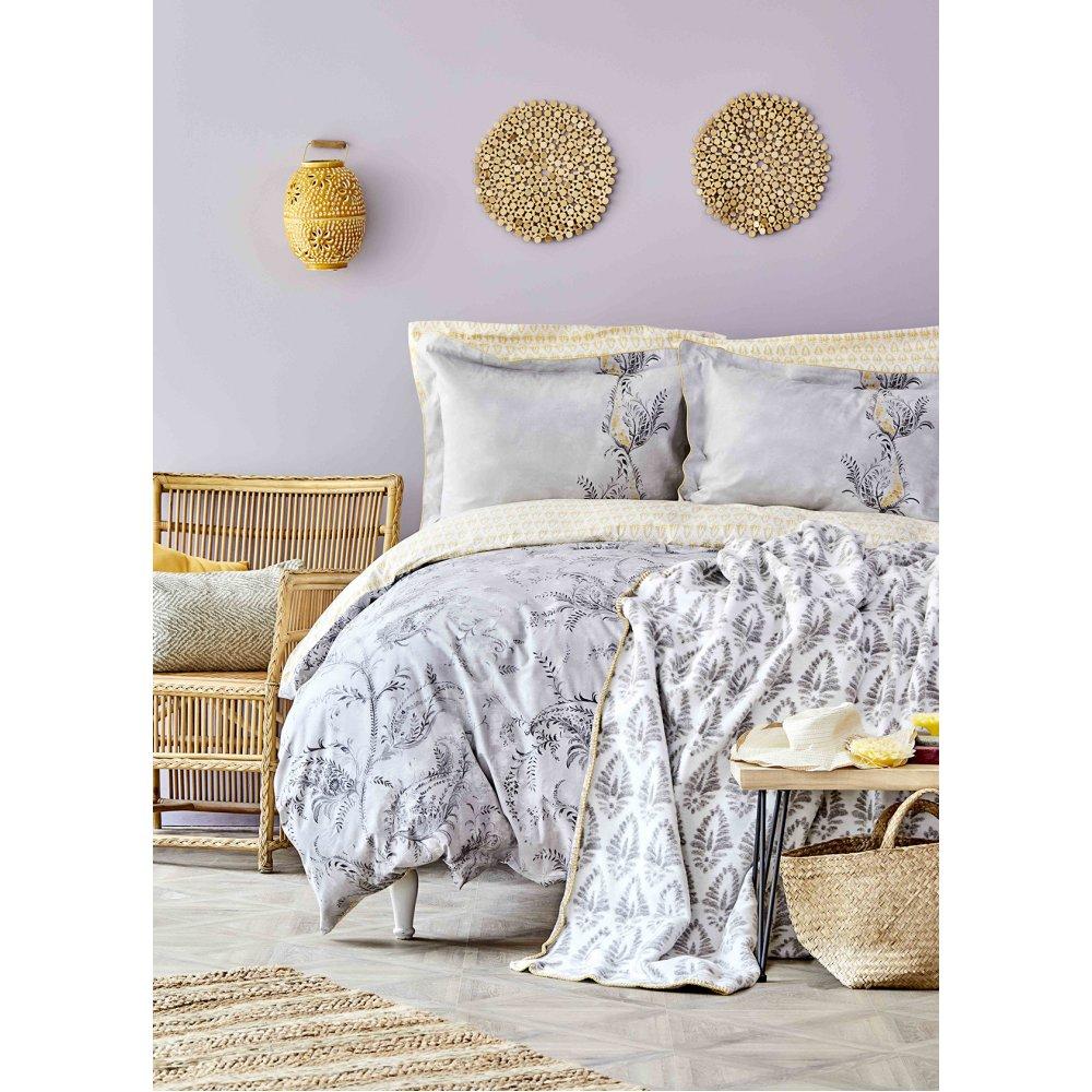 Набор постельное белье с пледом Karaca Home - Veronica gri 2020-1 серый евро