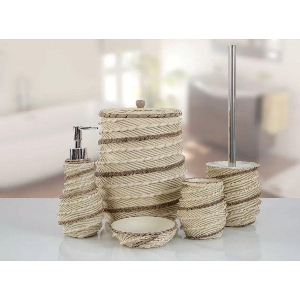 Комплект в ванную Irya - Marva krem кремовый (5 предметов)