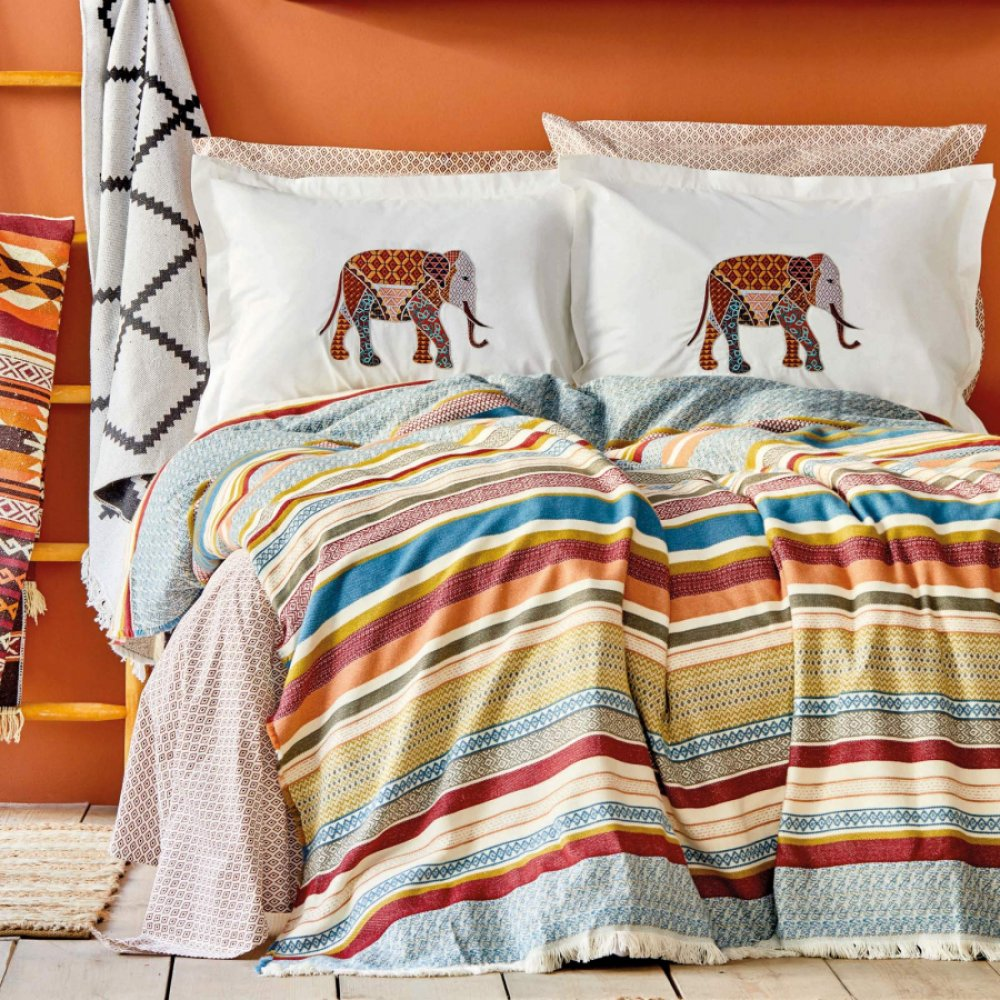 Набор постельное белье с покрывалом Karaca Home - Erfen kiremit кирпичный евро