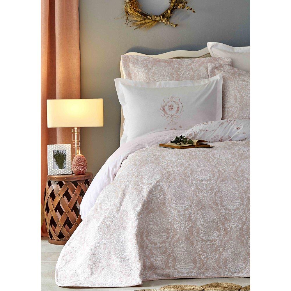 Набор постельное белье с покрывалом Karaca Home - Quatre delux pudra пудра евро