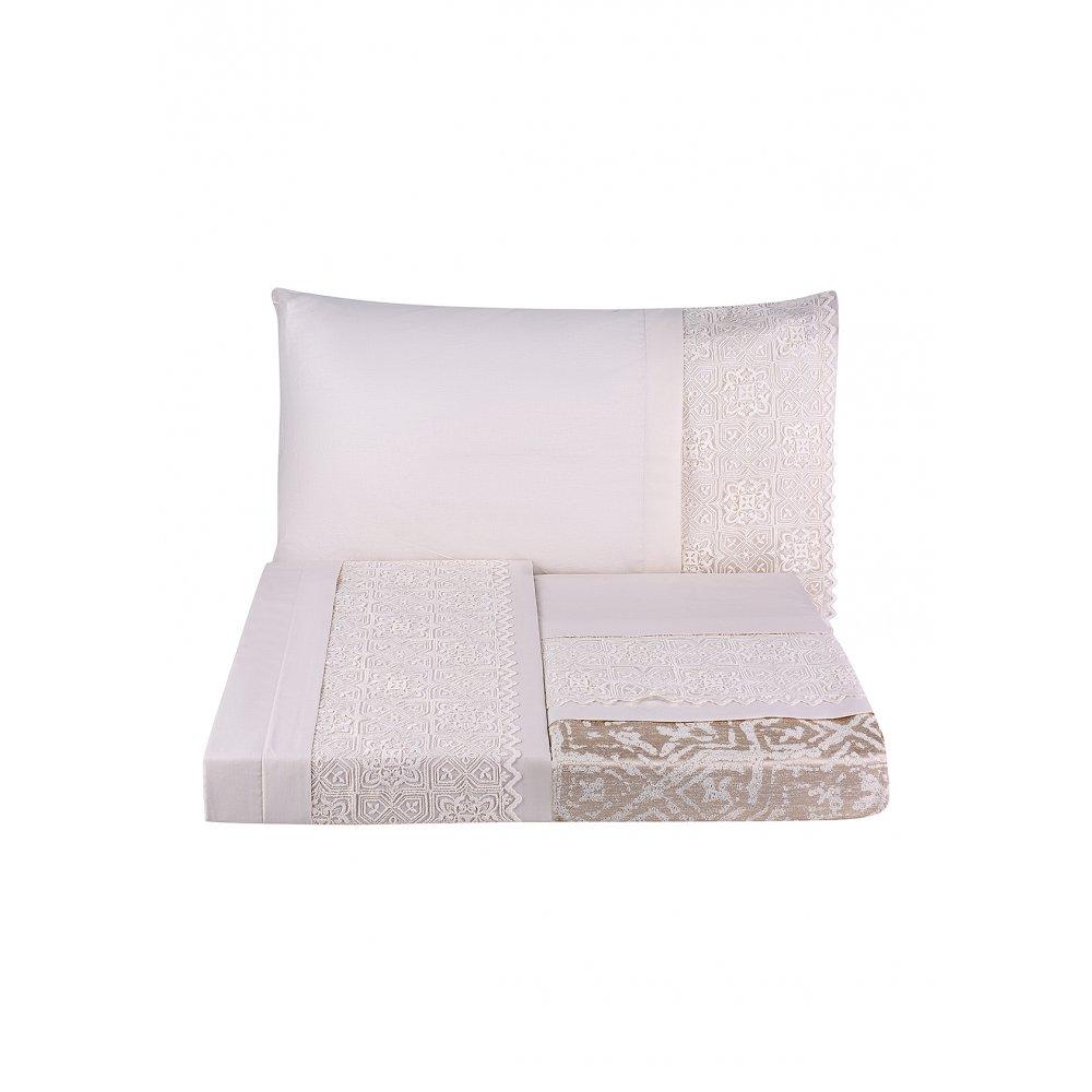 Набор постельное белье с покрывалом пике Karaca Home - Maya gold 2020-1 золотой евро