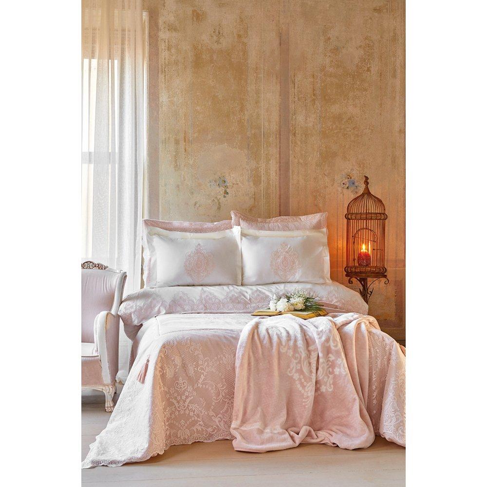 Набор постельное белье с покрывалом + плед Karaca Home - Desire pudra 2020-1 пудра евро (10)