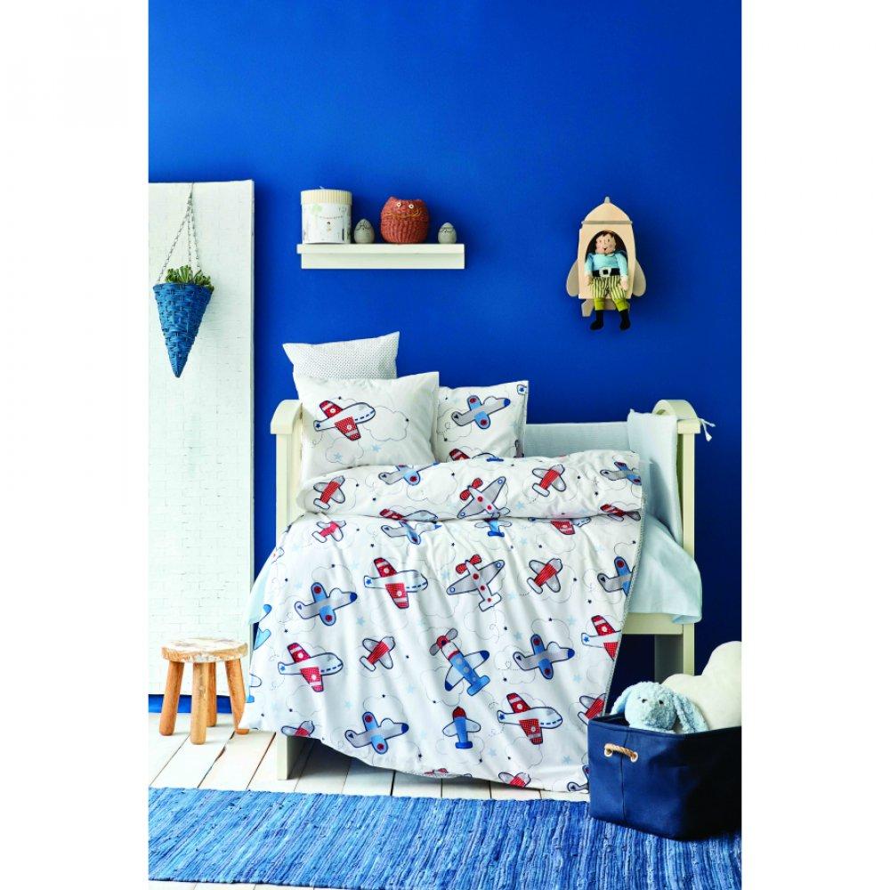 Детский набор в кроватку для младенцев Karaca Home - Airship mavi голубой (10 предметов)