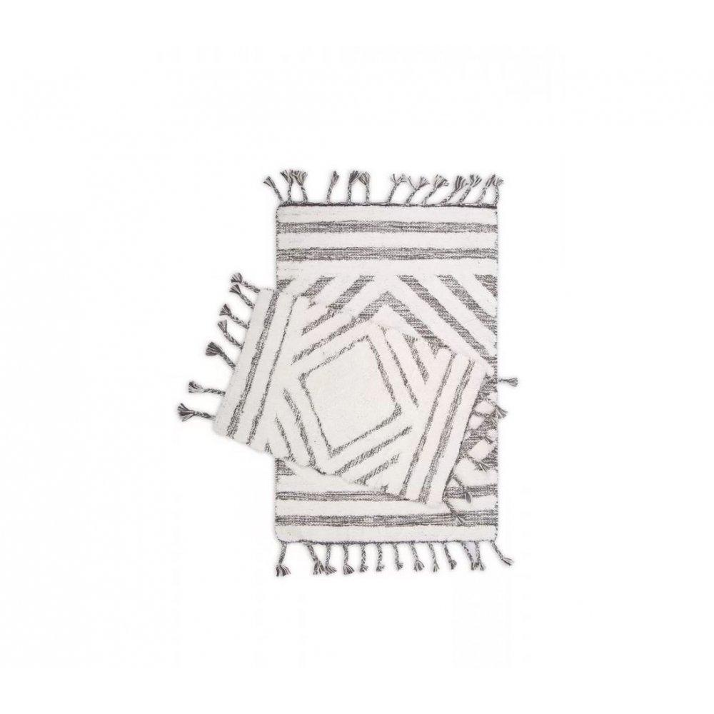 Набор ковриков Irya - Hoover siyah/ekru черный/молочный 60*90+40*60