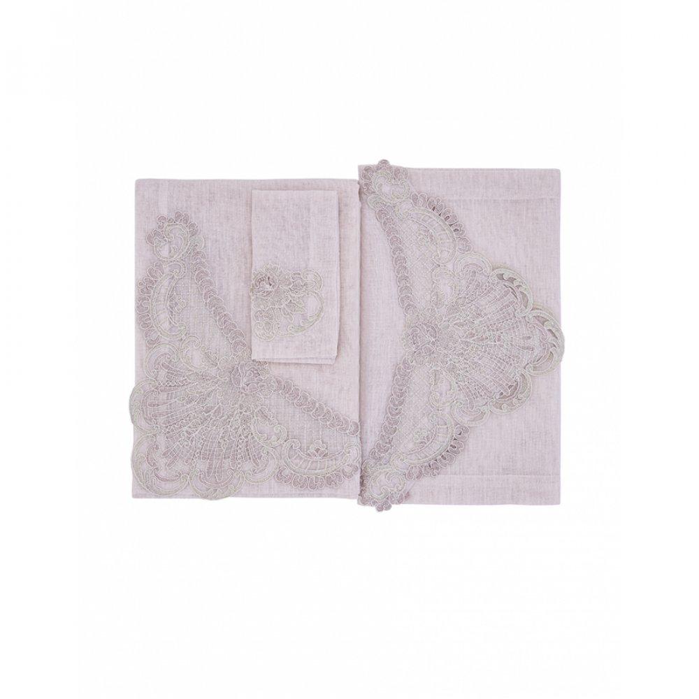 Набор для сервировки Karaca Home - Alya pembe розовый скатерть+дорожка+салфетки