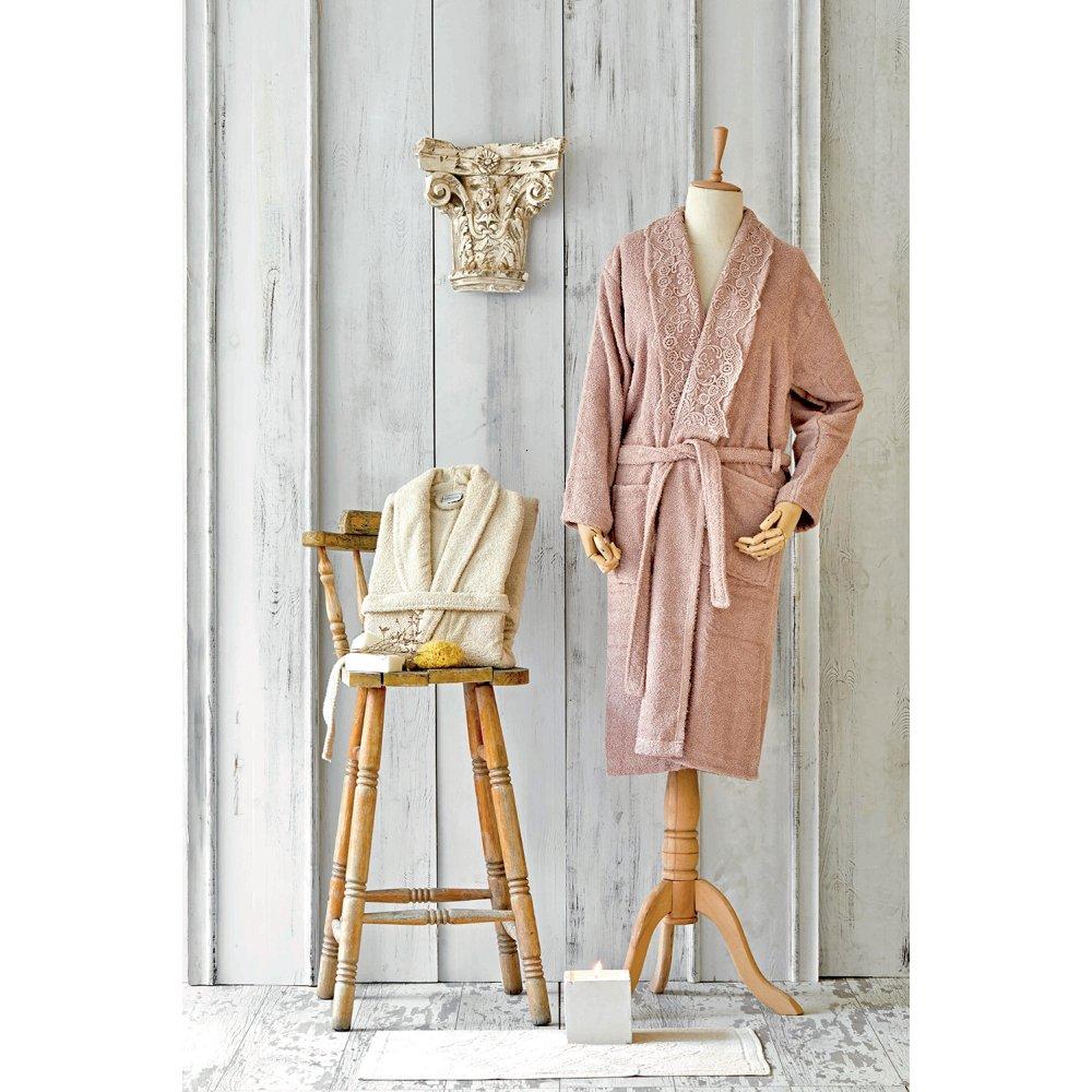 Набор халат с полотенцем Karaca Home - Valeria Rose-Gold 2020-2 розовый-золотой