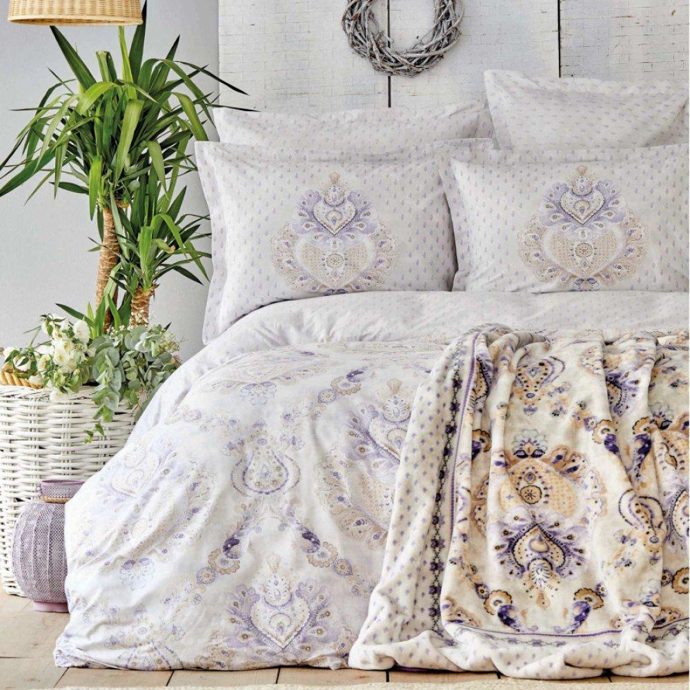 Набор постельное белье с пледом Karaca Home - Estella lila лиловый евро