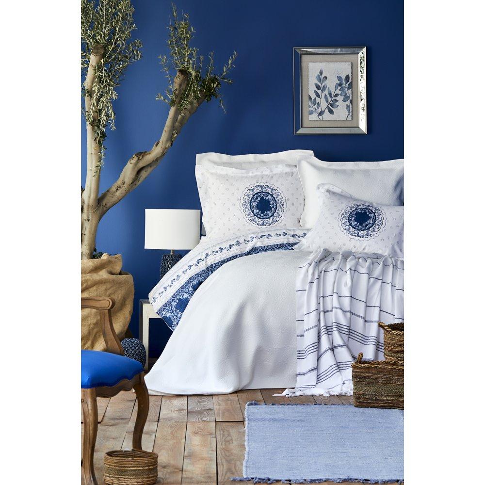 Набор постельное белье с покрывалом + пике Karaca Home - Belina mavi голубой евро
