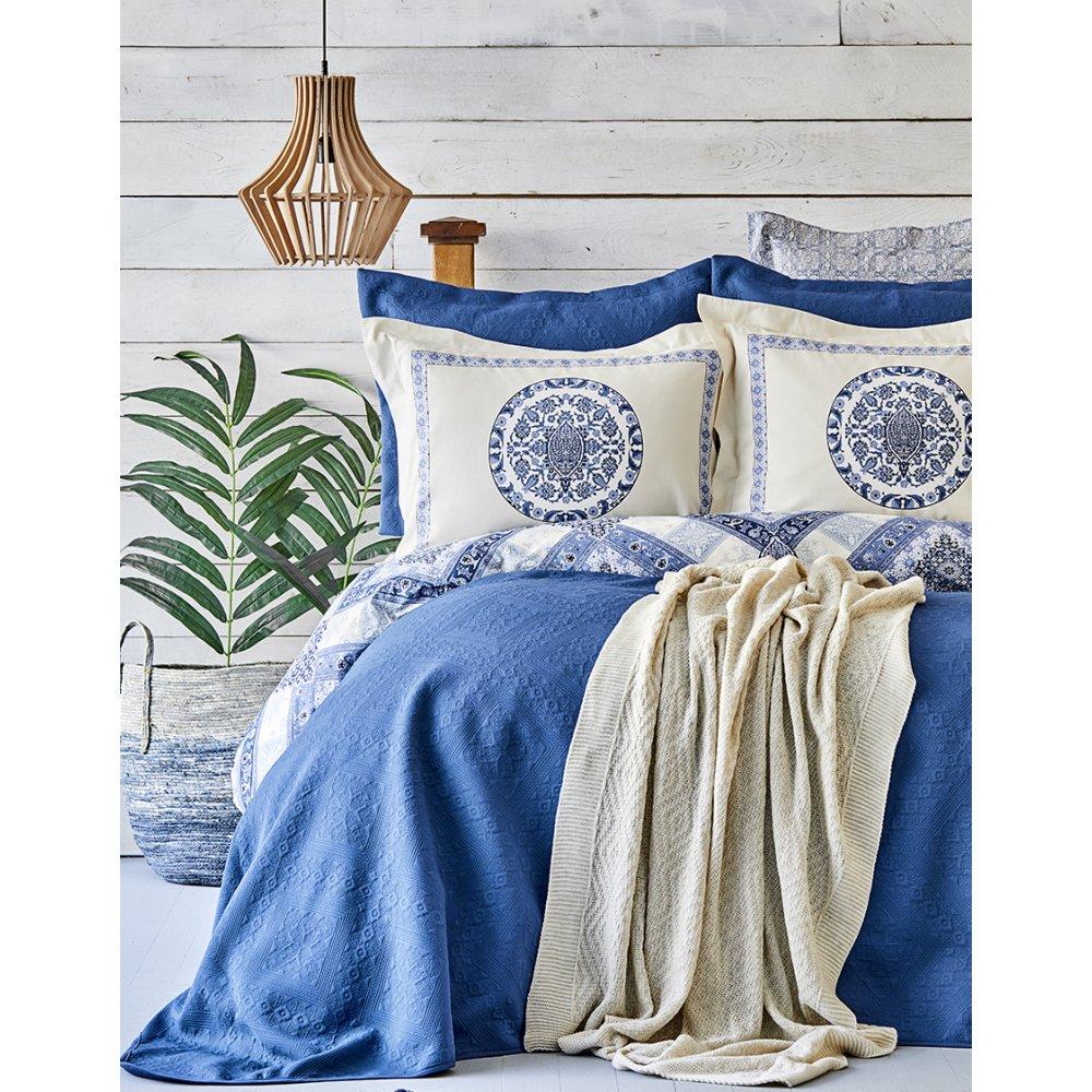Набор постельное белье с покрывалом + плед Karaca Home - Levni mavi 2020-1 синий евро