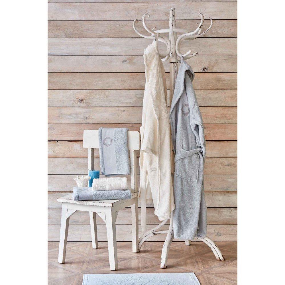 Набор халат с полотенцем Karaca Home - Silvio offwhite-s.yesil кремовый-зелёный