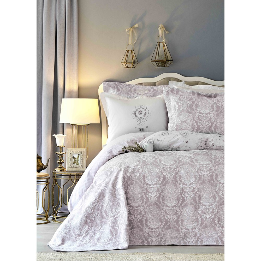 Набор постельное белье с покрывалом Karaca Home - Quatre delux murdum фиолетовый евро
