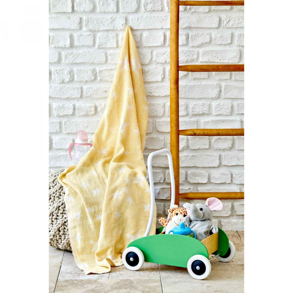 Детское покрывало пике Karaca Home - Baby star sari желтый 80*120
