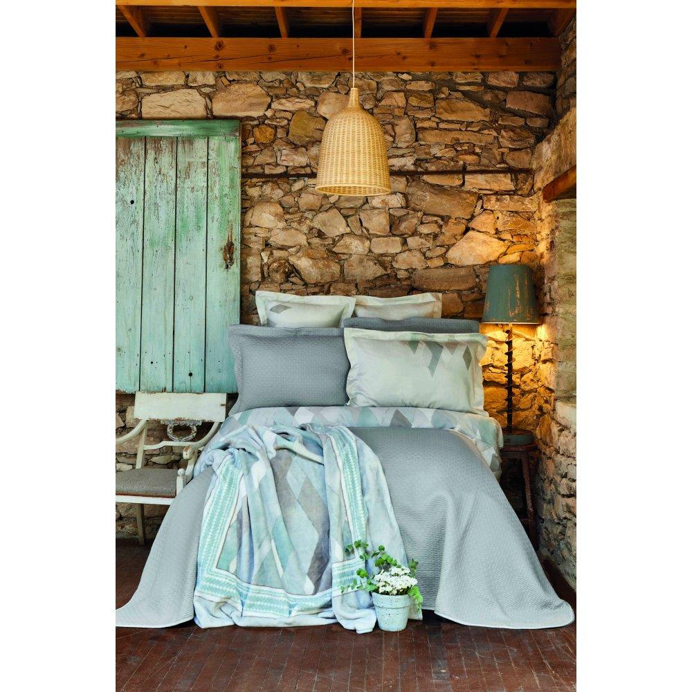 Набор постельное белье с покрывалом + плед Karaca Home - Lauro gri серый евро