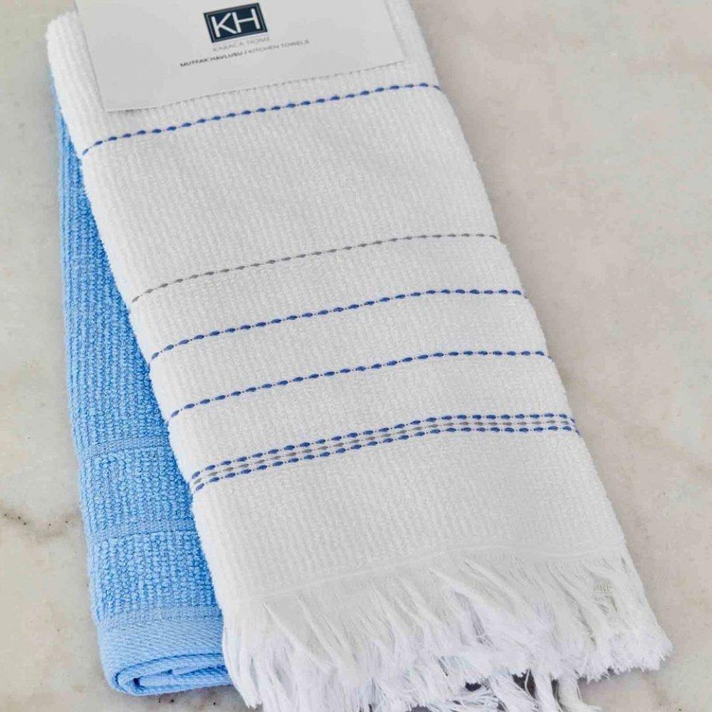 Набор кухонных полотенец Karaca Home - Alisa mavi голубой 60*40 (2 шт.)