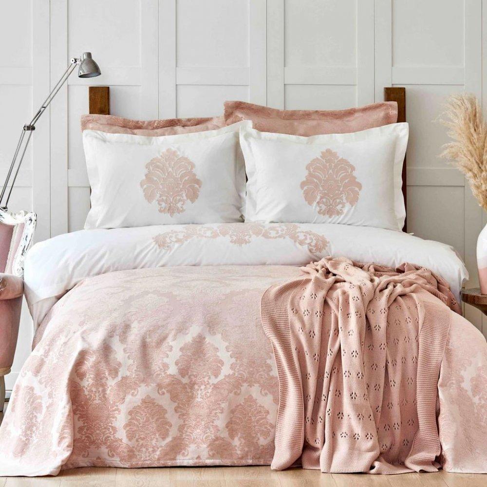 Набор постельное белье с покрывалом + плед Karaca Home - Adrienne pudra пудра евро (10)