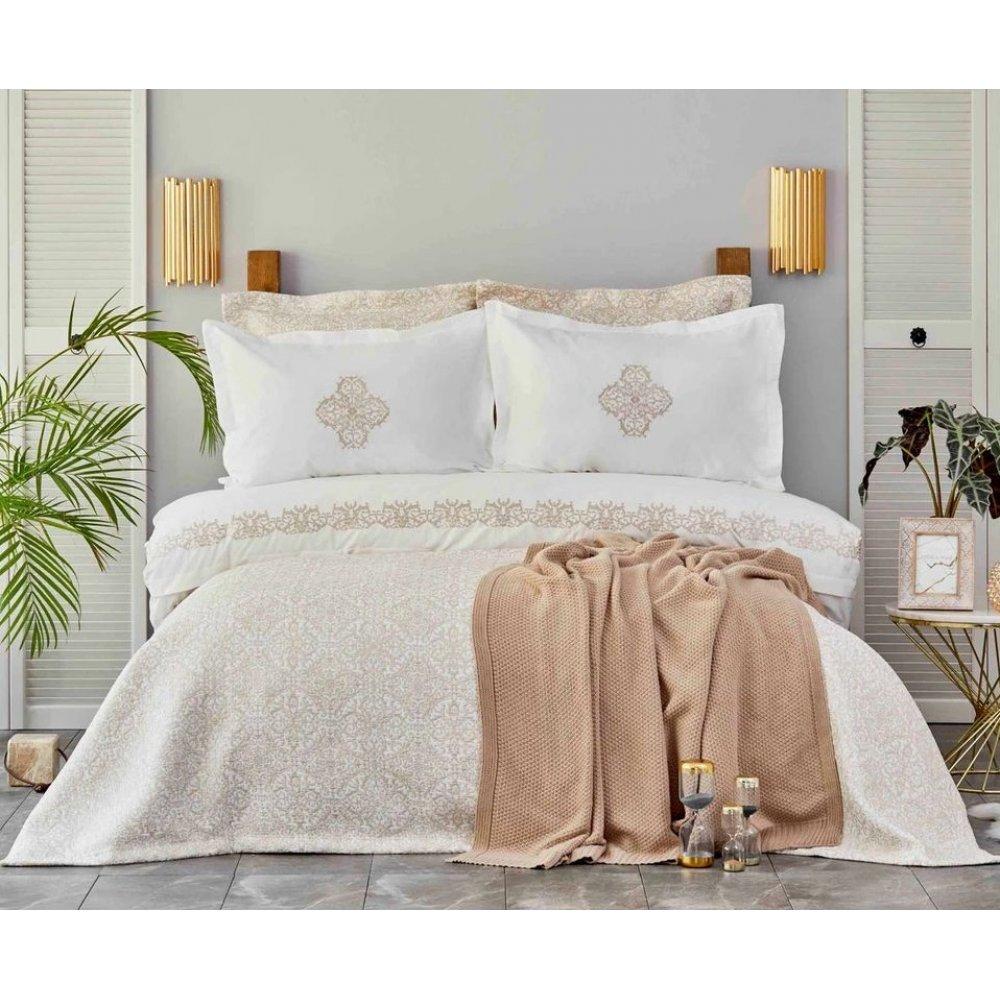 Набор постельное белье с покрывалом + плед Karaca Home Privat - Celine gold золотой евро (10)