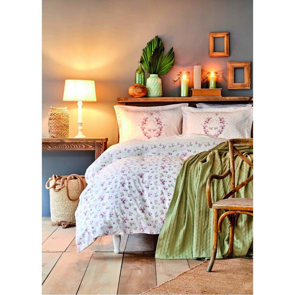 Набор постельное белье с покрывалом пике Karaca Home - Sonya yesil зелёный пике 200*230 евро