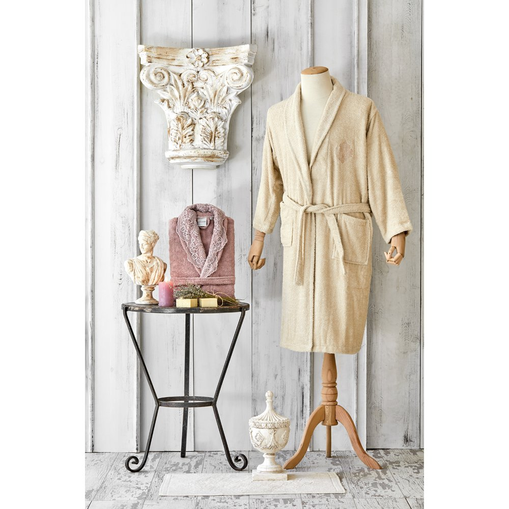 Набор халат с полотенцем Karaca Home - Valeria G.kurusu 2020-2 розовый