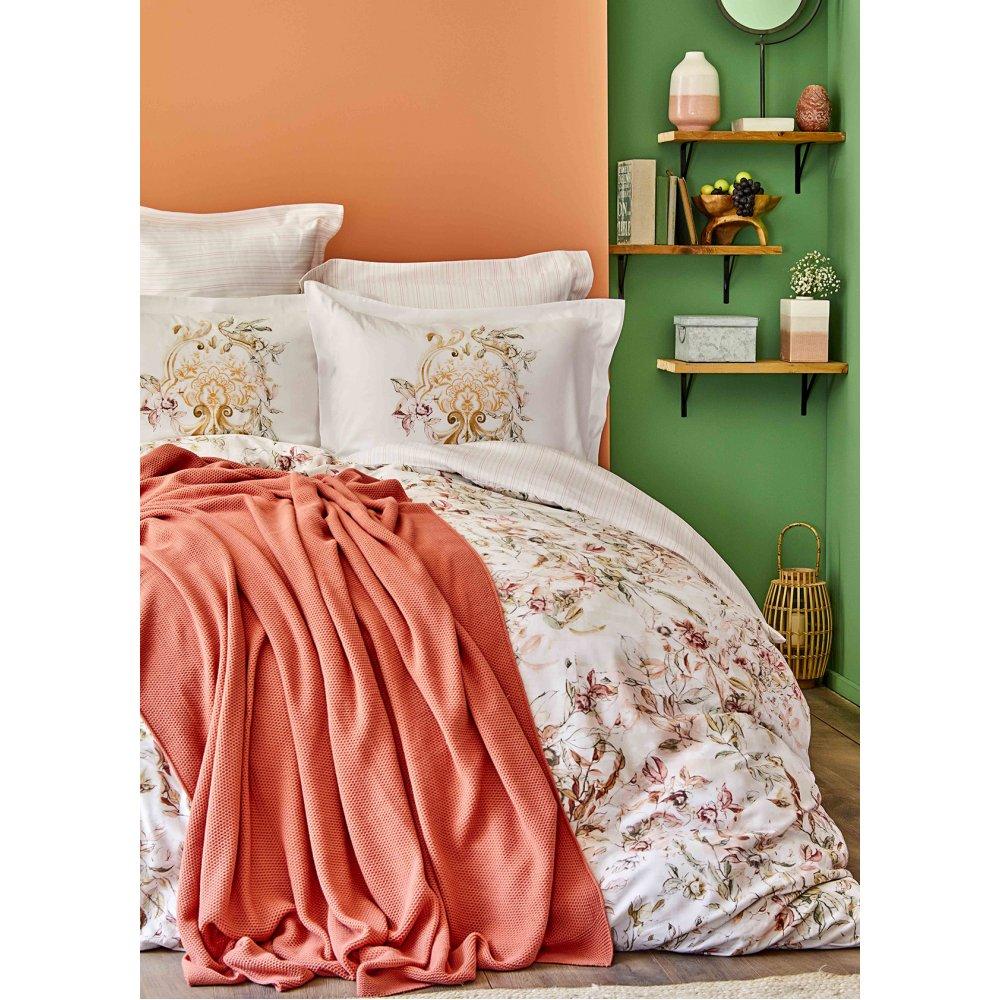 Набор постельное белье с пледом Karaca Home - Elsira blush 2020-1 персиковый евро