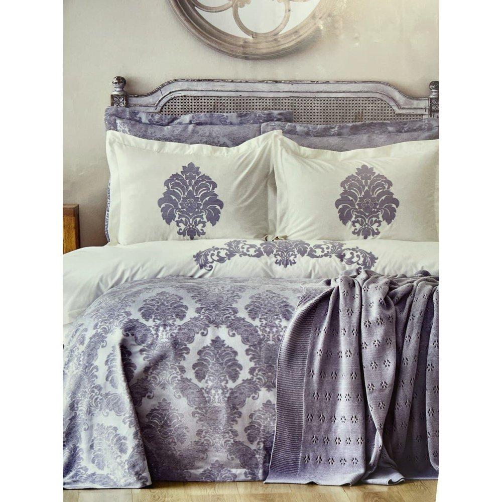 Набор постельное белье с покрывалом + плед Karaca Home - Adrienne gri серый евро (10)