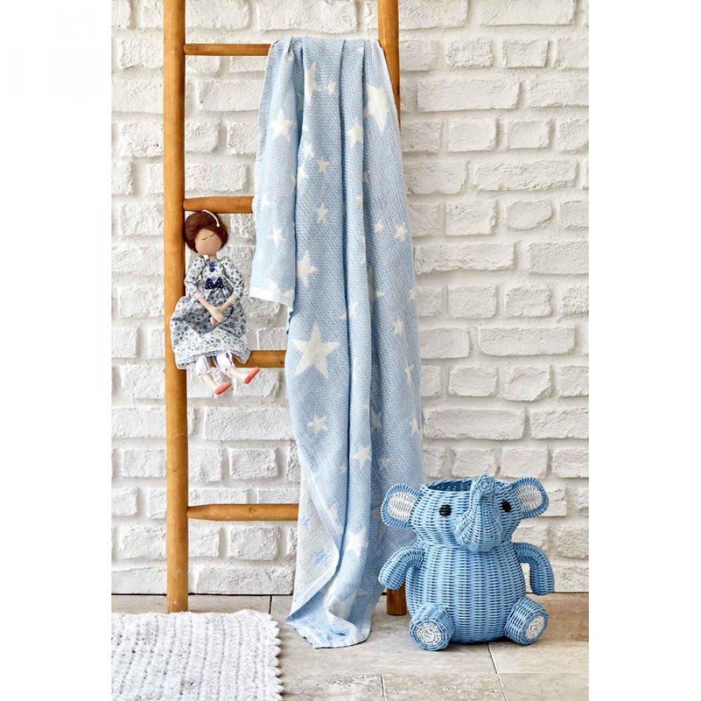 Детское покрывало пике Karaca Home - Baby star mavi синий 80*120