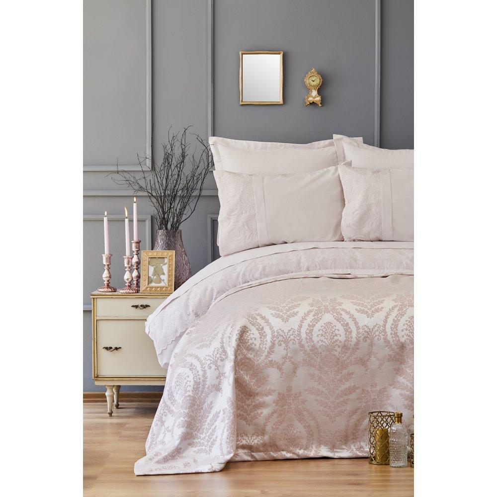 Набор постельное белье с покрывалом пике Karaca Home - Carla pudra пудра евро