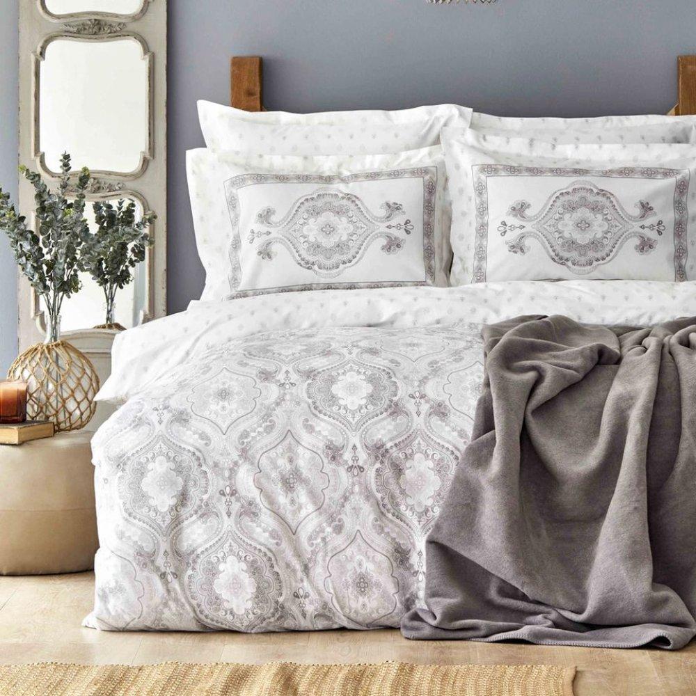 Набор постельное белье с пледом Karaca Home - Arlen gri серый евро
