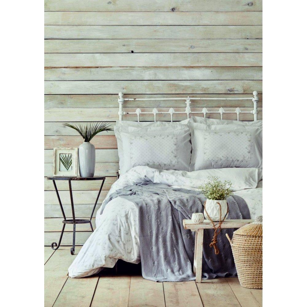 Набор постельное белье с пледом Karaca Home - Fronda gri серый евро