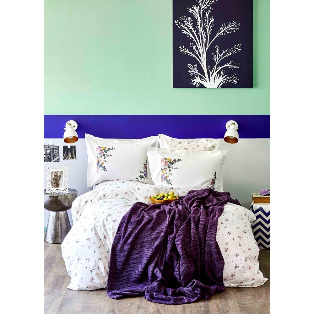 Набор постельное белье с пледом Karaca Home - Fertile lila 2020-1 лиловый евро