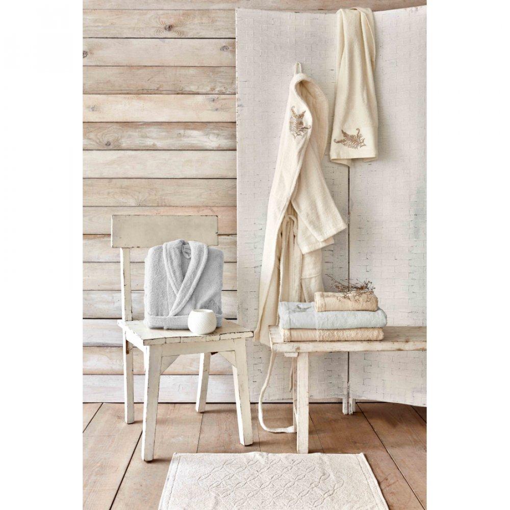 Набор халат с полотенцем Karaca Home - Fronda Offwhite-Gri кремовый-cерый