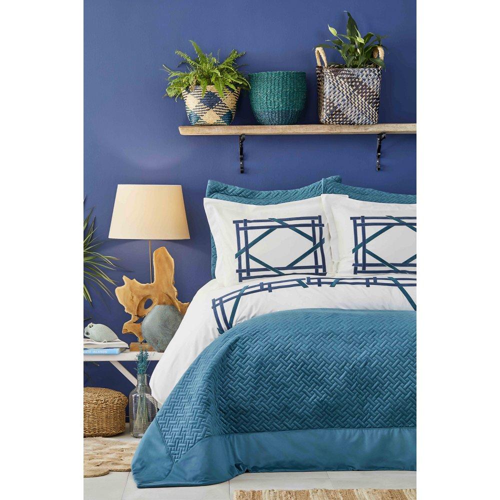 Набор постельное белье с покрывалом Karaca Home - Hiedra zumrut евро