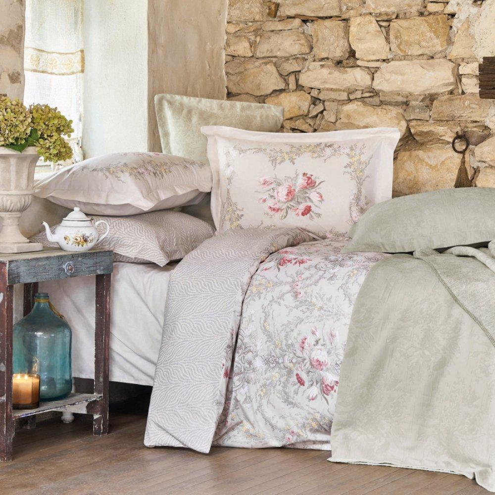 Набор постельное белье с покрывалом + плед Karaca Home - Petra pembe розовый евро