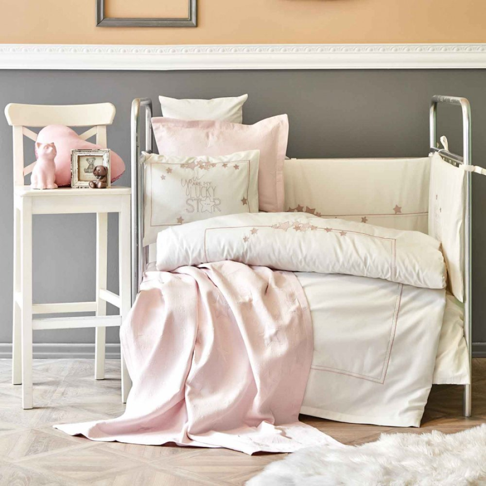 Детский набор в кроватку для младенцев Karaca Home - Lucky Star rose gold (9 предметов)