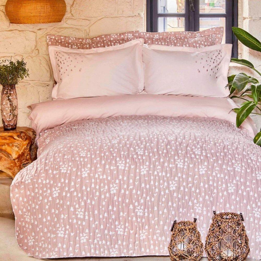 Набор постельное белье с покрывалом Karaca Home - Passaro blush пудра евро