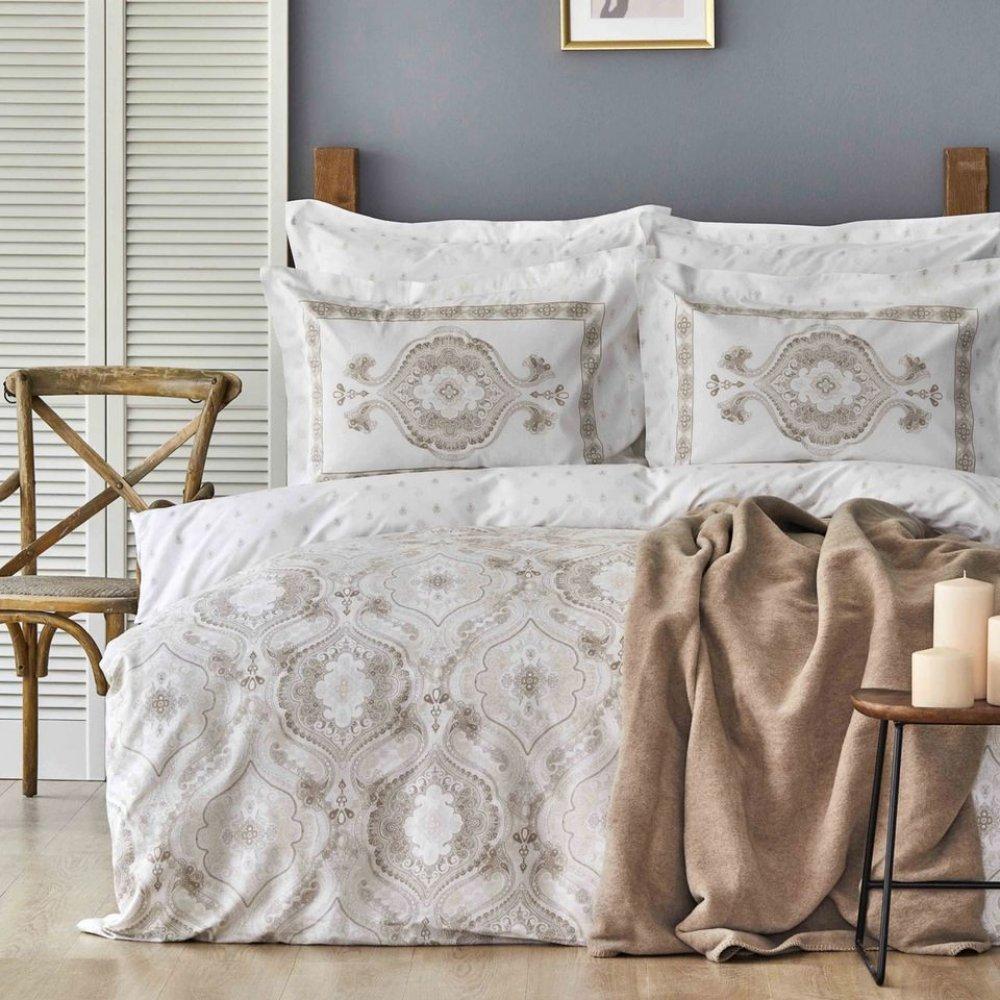 Набор постельное белье с пледом Karaca Home - Arlen bej бежевый евро