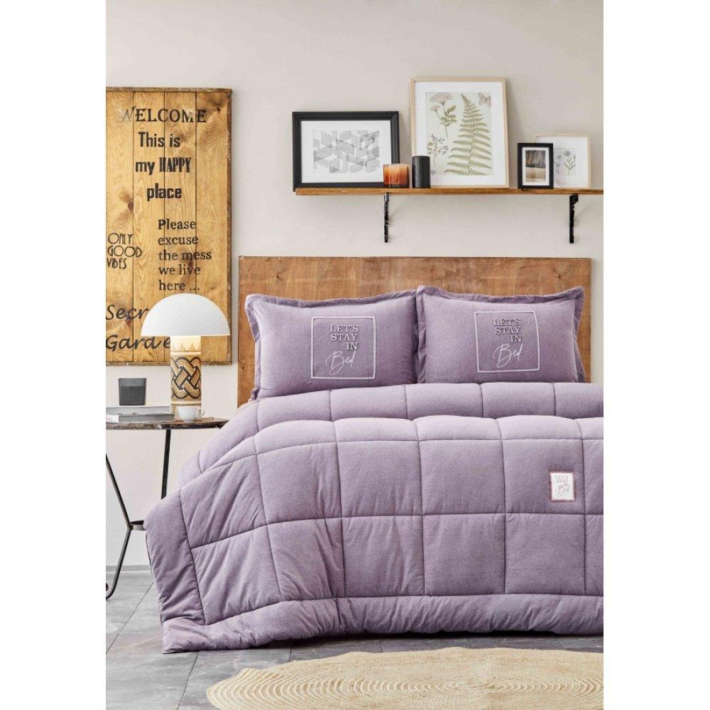 Набор постельное белье с одеялом Karaca Home - Toffee lila лиловый полуторный