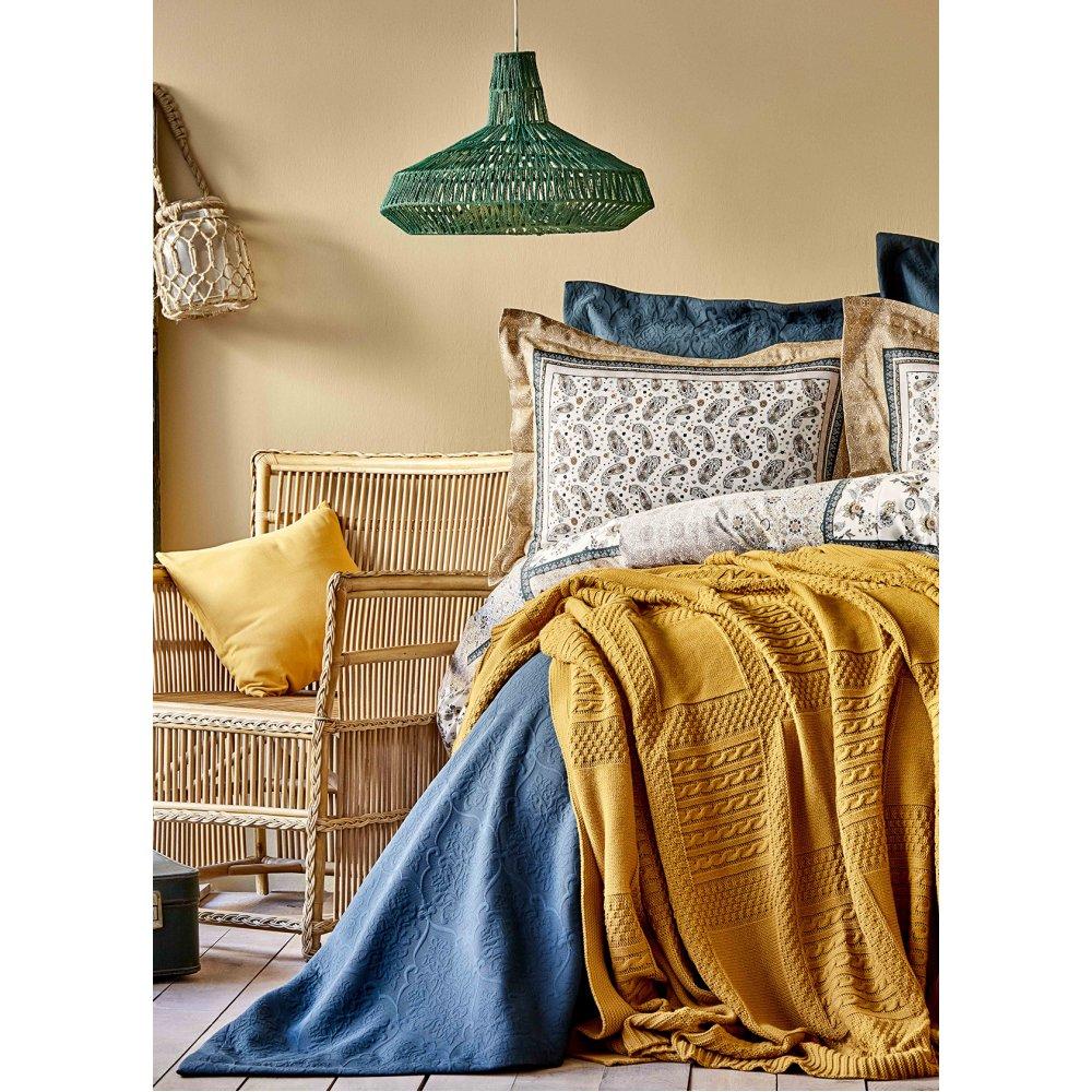 Набор постельное белье с покрывалом + плед Karaca Home - Maryam petrol 2020-1 изумруд евро