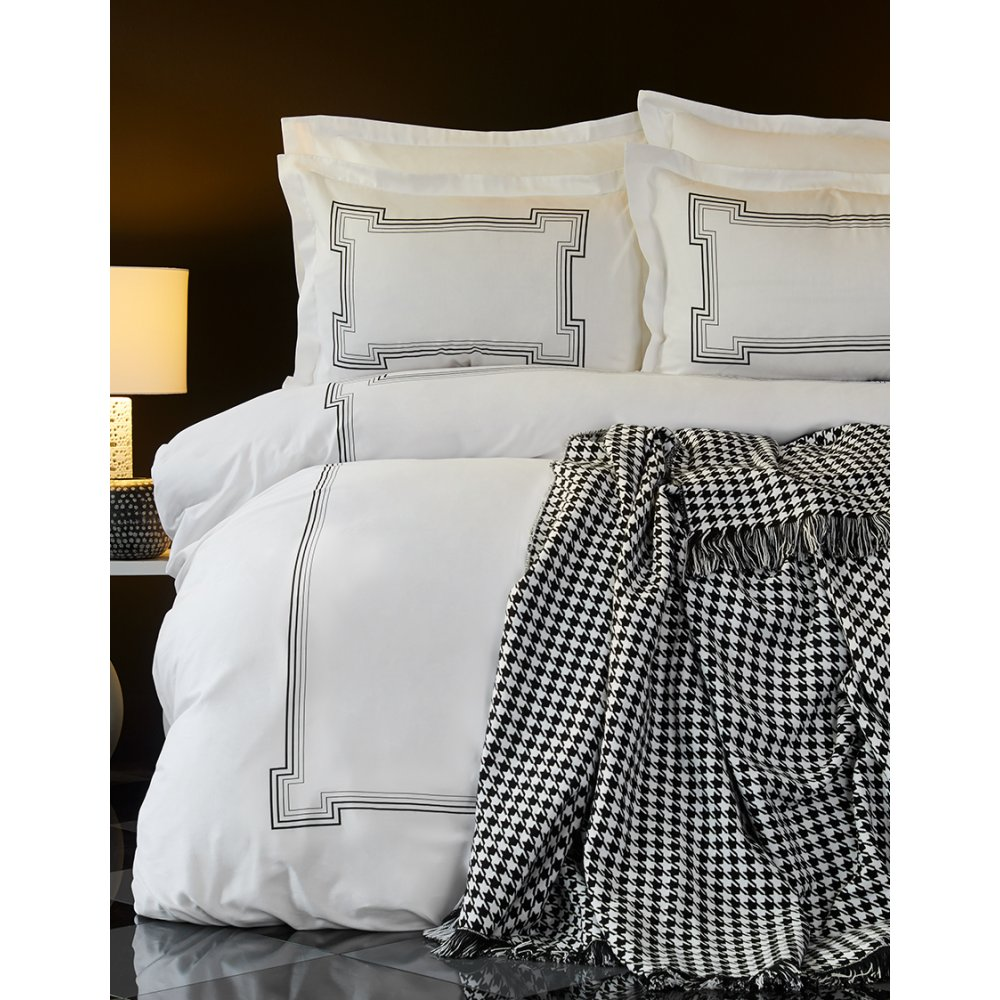 Набор постельное белье с покрывалом Karaca Home - Bourbon siyah черный евро