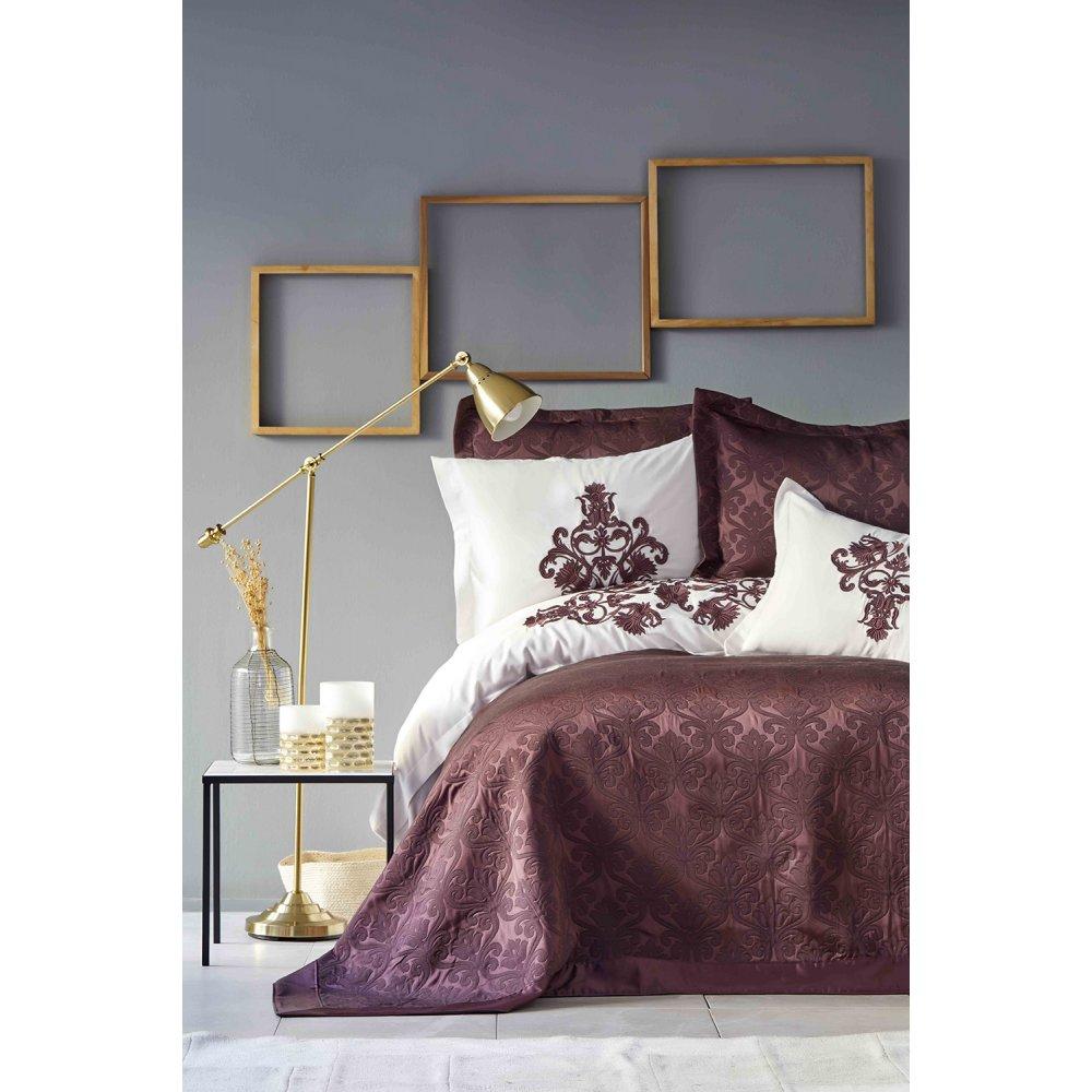 Набор постельное белье с покрывалом Karaca Home - Diana bordo бордовый евро