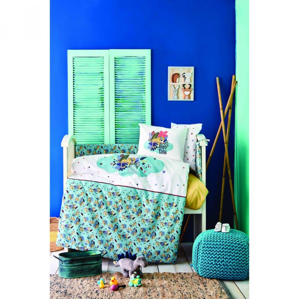 Детский набор в кроватку для младенцев Karaca Home - Bummer indigo индиго (10 предметов)