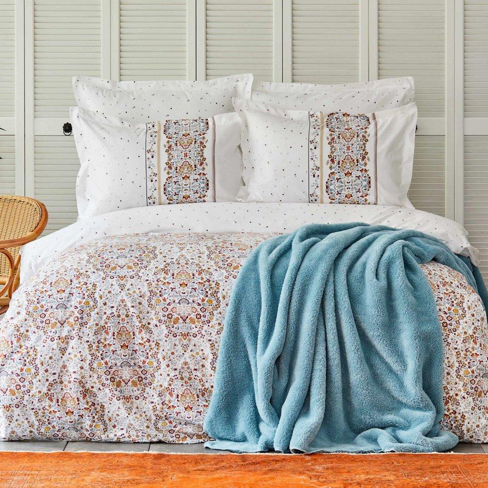 Набор постельное белье с пледом Karaca Home - Fiorela petrol синий евро