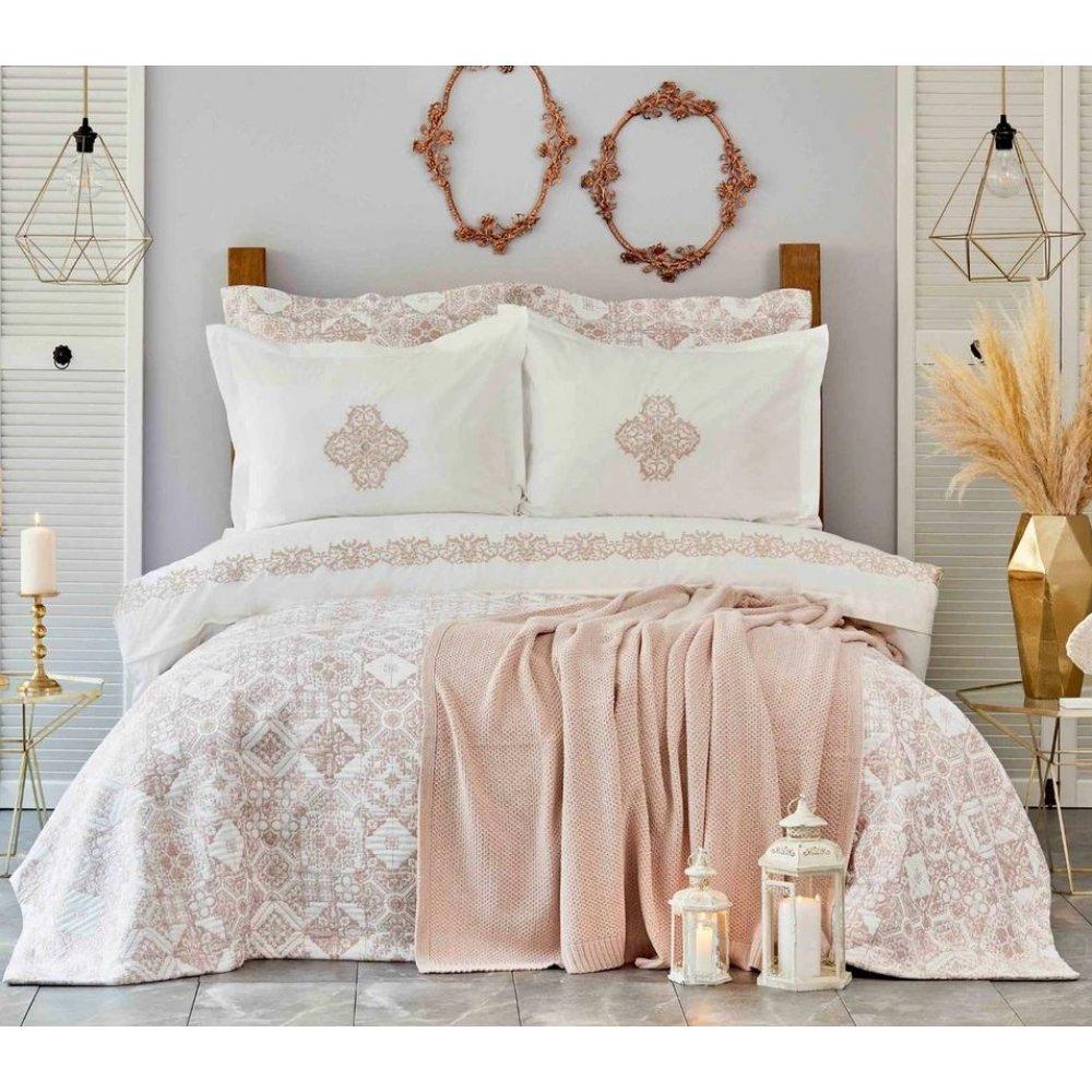 Набор постельное белье с покрывалом + плед Karaca Home Privat - Celine pudra пудра евро (10)