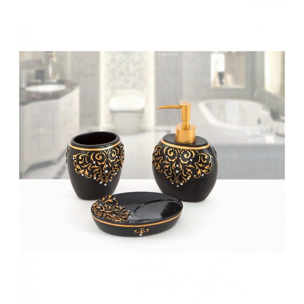 Комплект в ванную Irya - Flossy siyah черный (3 предмета)